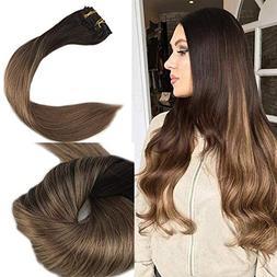 """Full Shine 20"""" 120gram Clip Hair Ins 10 Pcs Dip Dye Hair Col"""