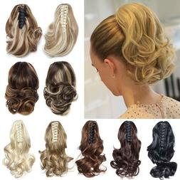 Short / Mega Thick Claw Clip in Hair Extensions Ponytail as