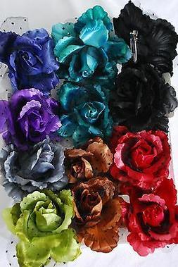 "Silk flower hair clip 5"" diameter"