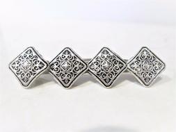 Silver celtic metal filigree hair clip barrette for fine hai