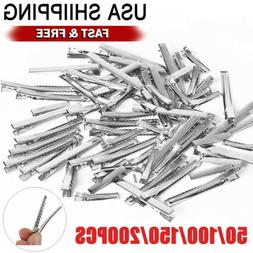 silver single prong alligator metal clips w