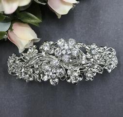 Silver tone with clear rhinestone crystal hair barrettes met