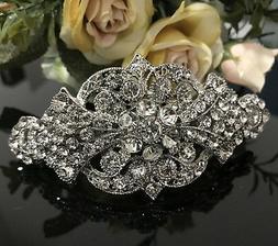 silver tone with clear rhinestone crystal hair