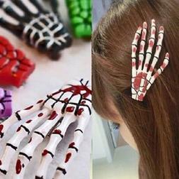skeleton hand HAIR CLIP set skull bone hair accessories,punk