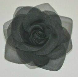 "SMALL 3.5"" Sheer Black Rose Artificial Silk Flower Hair Clip"