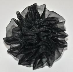 "SMALL 3"" Black Chiffon Rosette Rose Silk Flower Hair Clip We"