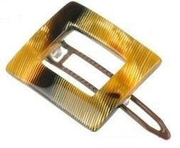 French Amie Small Caramel Square Celluloid Handmade Hair Cli