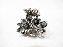 Small mini silver metal gray flower crystal hair claw clip b