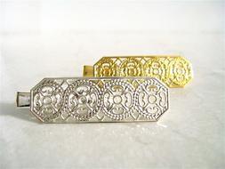 Small silver/gold alligator hair clip barrette for fine thin