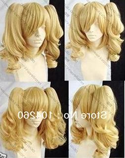 Smile blonde mixed COSPLAY WIG Ponytails Tiger clip with 2 p