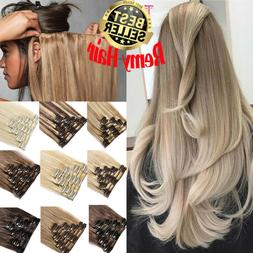 Soft 100% Remy Human Hair Extensions Clip In 8PCS Full Head
