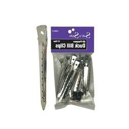 SOFT 'N STYLE Salon Beauty Hair Duck Bill Clips Steel 12 Per