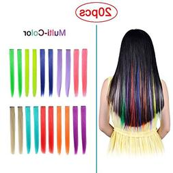 Hawkko 20PCS Straight Colored Clip in Hair Extensions Party