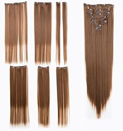 SWACC Women 22 Inches Straight Full Head 7 Separate Pieces H