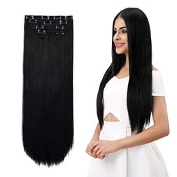 """REECHO 24"""" Straight Long 4 PCS Set Thick Clip in on Hair Ext"""