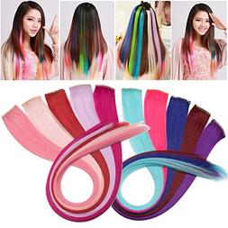 S-noilite 10pcs 22Inch Straight Colored Streak Hair Extensio