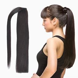 straight wrap around ponytail human