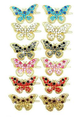 Stunning New Butterfly Crystal Rhinestone Gold Tone Hair Cli