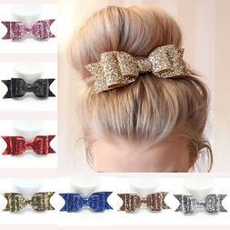 Sweet Women Girls Glitter Hairpin Bowknot Barrette Crystal H