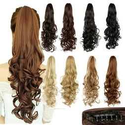 Synthetic Clip In Pony Tail Hair Extensions Claw On Ponytail
