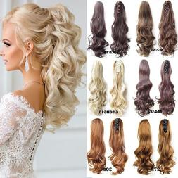 Thick Clip In Pony Tail Hair Extensions Claw Clip On Ponytai