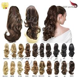 Thick Jaw Claw Clip In Ponytail Curly Wavy Hair Extensions N