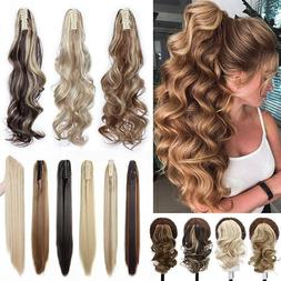 Thick Long Ponytail Real Natural Jaw Clip In Hair Extension