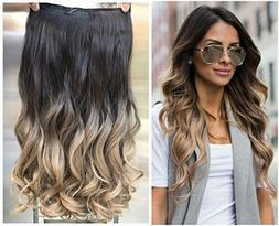 Thick One Piece Ombre Clip in Hair extensions Long Wavy Curl