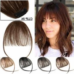 Thin Neat Air Bangs Real Human Hair Clip on Bangs Clip in Fr