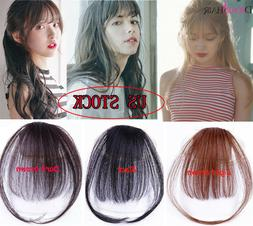 Thin Neat Hair Air Bangs 100% Human Hair Clip In Fringe Hair