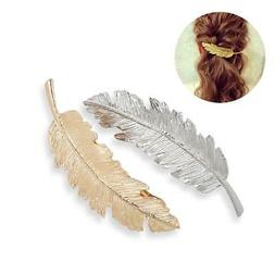 TINKSKY 2pcs Leaf / Feather Shaped Hair Clip Pin Claw Hair A
