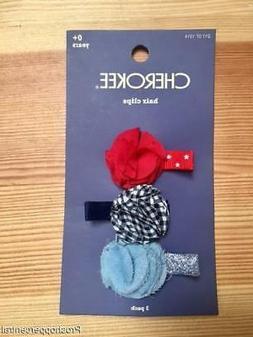 Cherokee Toddler Girls 3-Pack Rosette Flower Hair Clips Acce