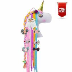 Unicorn Hair Clips Holder Girl Women Fringe Hair Bows Headba