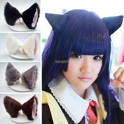 Unisex Cat Ears Hairpins Fox Clip Costume Cosplay Hair Fur B