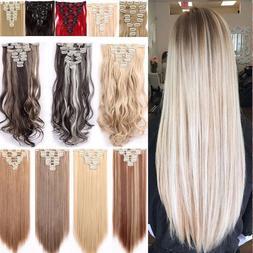 US 100% Real As lady Hair Clip in Full Head Woman Hair Exten