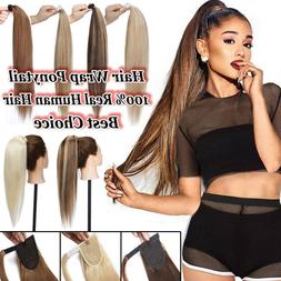 US 100% Real Human Hair Clip In Ponytail Hair Extensions Hum