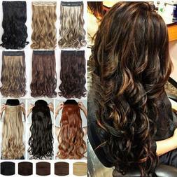 US 1Pcs 100% Natural Hair Clip in Half Full Head Hair Extens