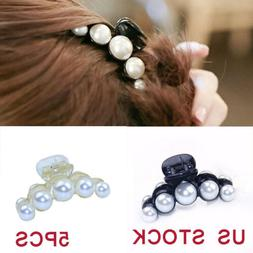 US 5pcs Womens Hair Clip Faux Pearl Lady Hairpins Headwear C