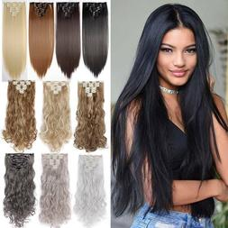 US 8 Pieces Clip In Hair Extensions Full Head Natural As Hum