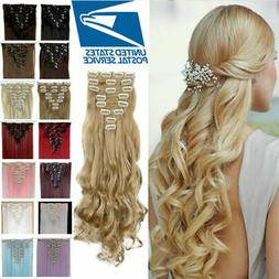 US Clip In Hair Extensions 8Pcs Full Head 18clips Long Curly