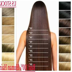 US Full Head Clip in 100% Remy Human Hair Extensions 15-26 i
