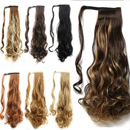 US Post Natural Clip In human Hair Extension Pony Tail Wrap