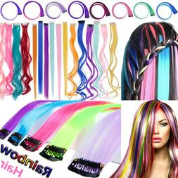 US Post Rainbow Pink Blue Purple Clip In 10 Pieces Hair Exte