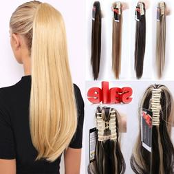US Real Thick Clip In Pony Tail Hair Extensions Claw Clip On