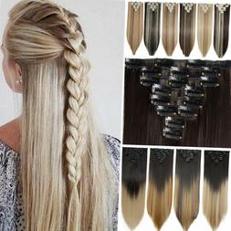US SALE Clip in 100% Real Natural as Human Hair Extensions L