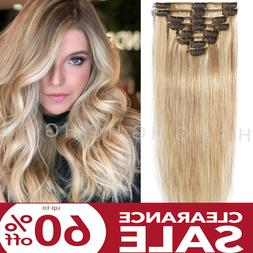 US Stock 8-24 inch Clip In 100% Russian Human Hair Extension