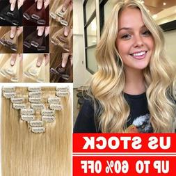 US Stock Clip In 8A REMY Human Hair Extensions 8Pcs Full Hea