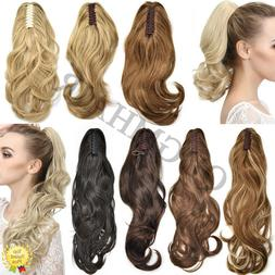 US Thick Claw Clip in Hair Extension Natural Jaw Ponytail Wa