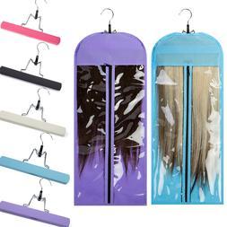 US Virgin Hair Clip In Human Hair Extensions Carrier Portabl