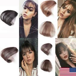 US Women Hair Clip In Bangs Air Bang Fringe Fake Hair Extens